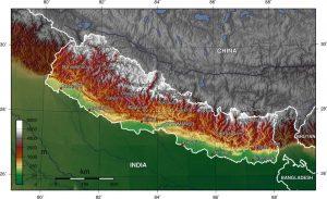 Topografski zemljevid Nepala. CC BY-SA 3.0