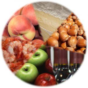 Med alergeni so tudi jabolka, lešniki, sir, morski sadeži, breskve in celo vino. Kompilacija: David Castor. CC BY-SA 3.0