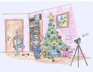 Novo leto pri Tršici Nini. Ilustracija: Miha Klenovšek.