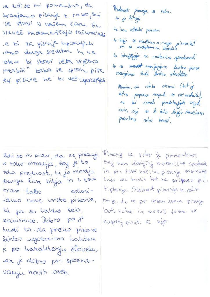 Pobuda Pišemo z roko na Gimnaziji Celje - Center. Vir: GCC