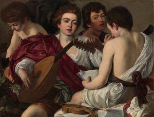 Karmin na sliki Glasbeniki mojstra Caravaggia. Vir: Met