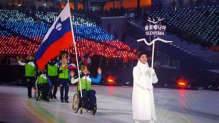 Jernej Slivnik na otvoritveni slovesnosti paraolimpijskih iger v Pjongčangu. Vir: Šport invalidov