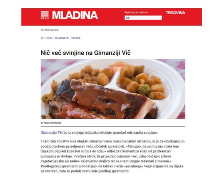 Lažna stran Mladine. Vir: Raziskovalna naloga ULS