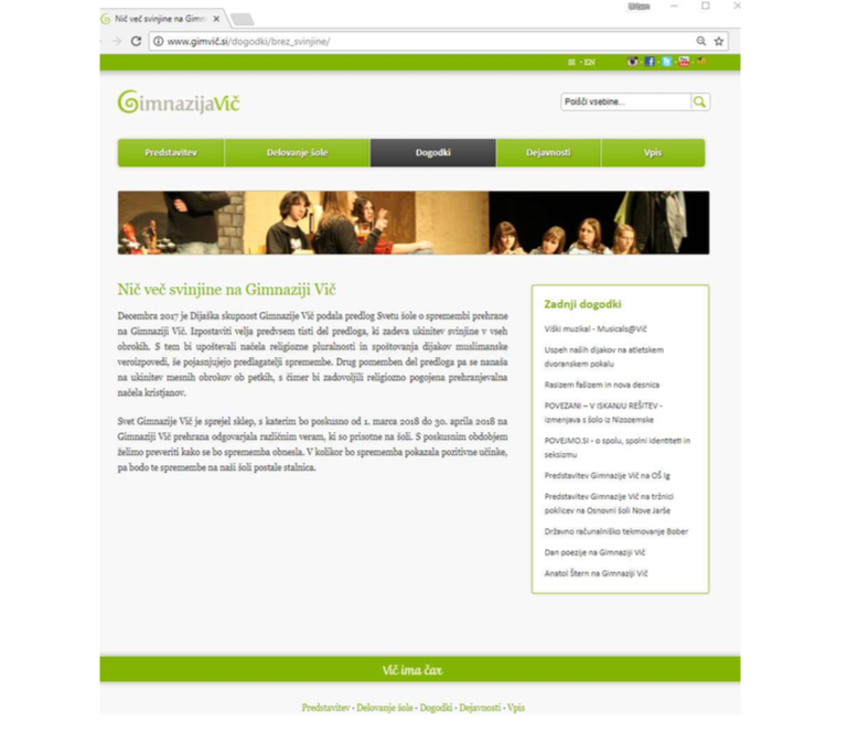 Lažna stran Gimnazije Vič. Vir: Raziskovalna naloga ULS