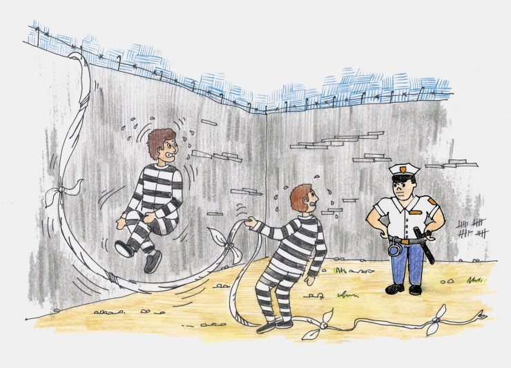 Paznik v zaporu. Ilustracija: Miha Klenovšek