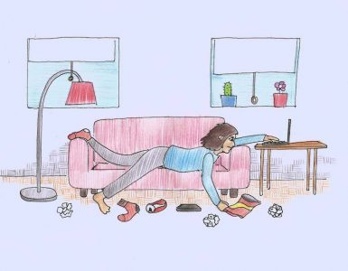 Tršica Nina o osamljenosti na spletu. Ilustracija: Miha Klenovšek.