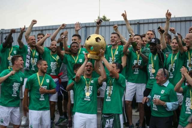 NK Olimpija je z remijem 1:1 proti Domzalam v zadnjem krogu 1. slovenske nogometne lige osvojila naslov drzavnih prvakov. Foto: Anže Malovrh/STA