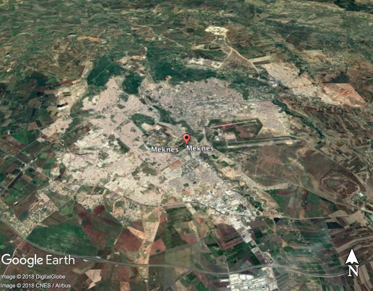 Malak Zala Gašperin je doma v bližini mesta Meknes. Vir: Google Earth Pro
