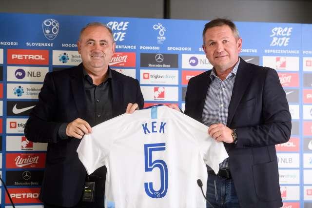 Predsednik Nogometne zveze Slovenije Radenko Mijatović in novi selektor Matjaž Kek. Foto: Nebojša Tejić/STA
