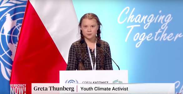 Greta Thunberg in dogovor iz Katovic. Vir: Posnetek zaslona/Democracy Now
