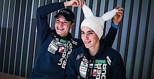 Smučarska skakalca Anže Lanišek in Timi Zajc. Foto: Anže Malovrh/STA
