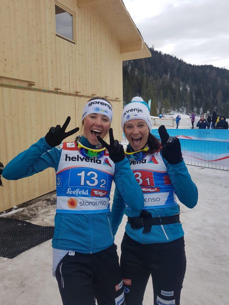 Srebrni tekačici Katja Višnar in Anamarija. Vir: Arhiv SZS