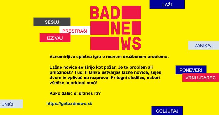 Spletna igra Bad News pomaga prepoznavati lažne novice in preprečevati njihovo širjenje. Vir: DROG&Časoris