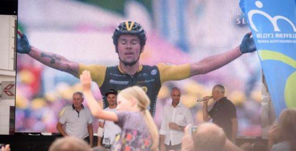 Sprejem kolesarja Primoža Rogliča po dirki po Franciji avgusta 2018. Foto: Nebojša Tejić/STA
