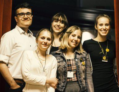 Soustvarjalci Kinotripa. Kaja Miglič Pirkmaier je prva z leve. Foto: Urška Boljkovac/Kinodvor