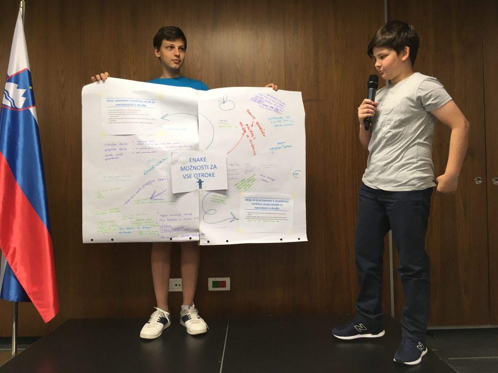 Otroci so razpravljali o različnih temah. Vir: Unicef Slovenija