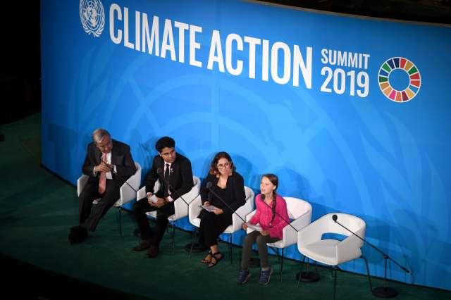 Greta Thunberg je na podnebnem vrhu v New Yorku nagovorila zbrane svetovne voditelje. Foto: Tamino Petelinšek/STA