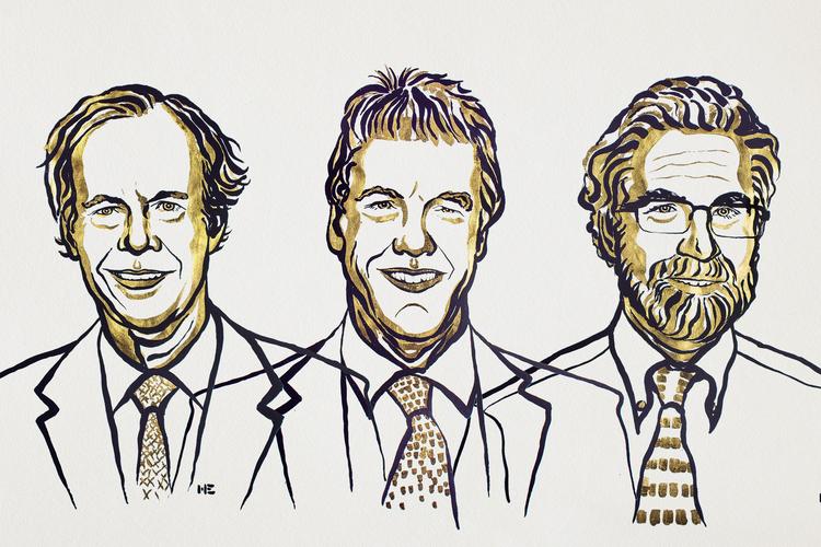 Nagrajenci za medicino. Ilustracija: Niklas Elmehed/Nobel Media
