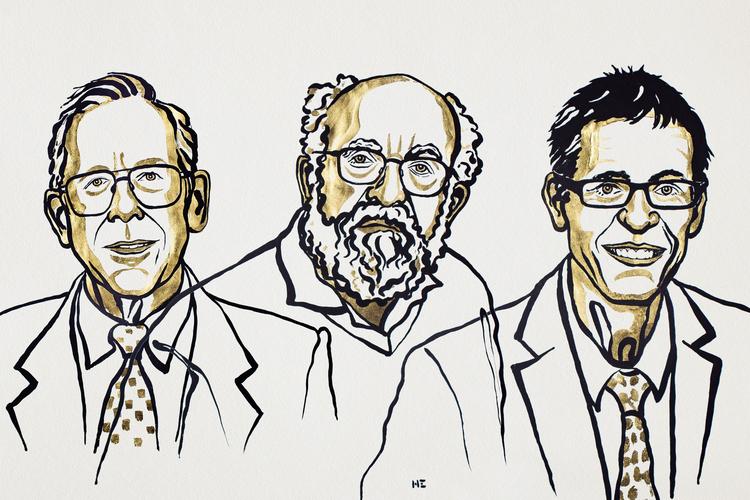 Nagrajenci za fiziko. Ilustracija: Niklas Elmehed/Nobel Media