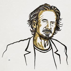 Peter Handke. Ilustracija: Niklas Elmehed/Nobel Media