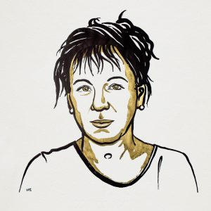 Olga Tokarczuk. Ilustracija: Niklas Elmehed/Nobel Media
