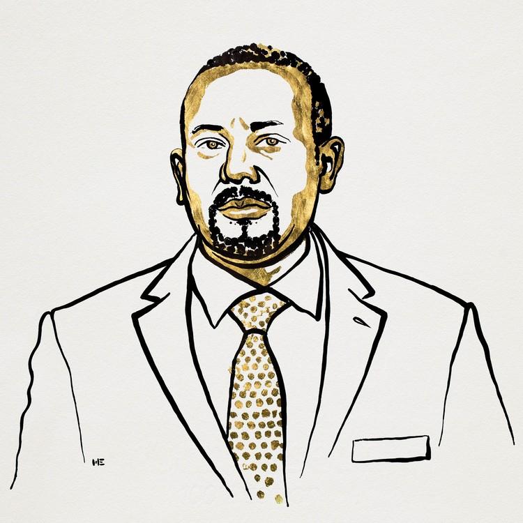 Abiy Ahmed Ali. Ilustracija: Niklas Elmehed/Nobel Media