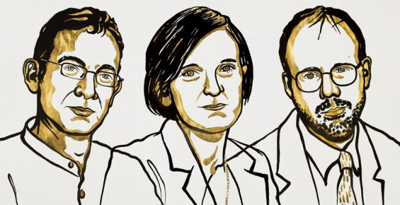 Nagrajenci za ekonomijo Abhijit Banerjee, Esther Duflo and Michael Kremer. Ilustracija: Niklas Elmehed/Nobel Media