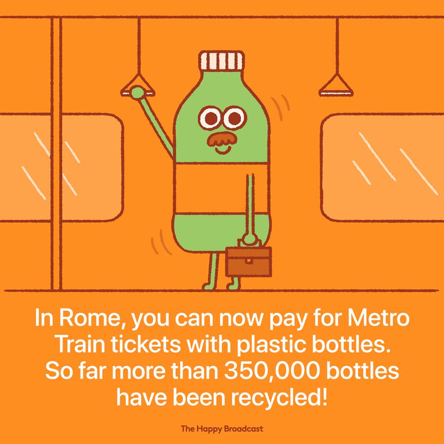 V Rimu plačujejo metro s plastičnimi steklenicami. Ilustracija: Mauro Gatti/Happy Broadcast