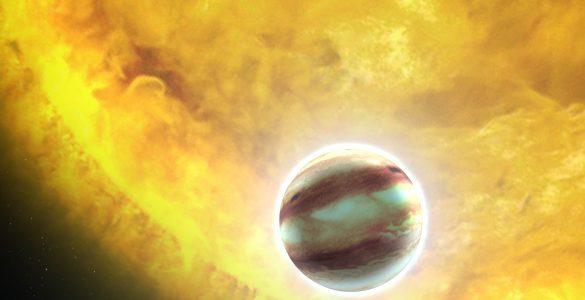 Ilustracija planeta ob zvezdi. Vir: Andrej Guštin/DMFA