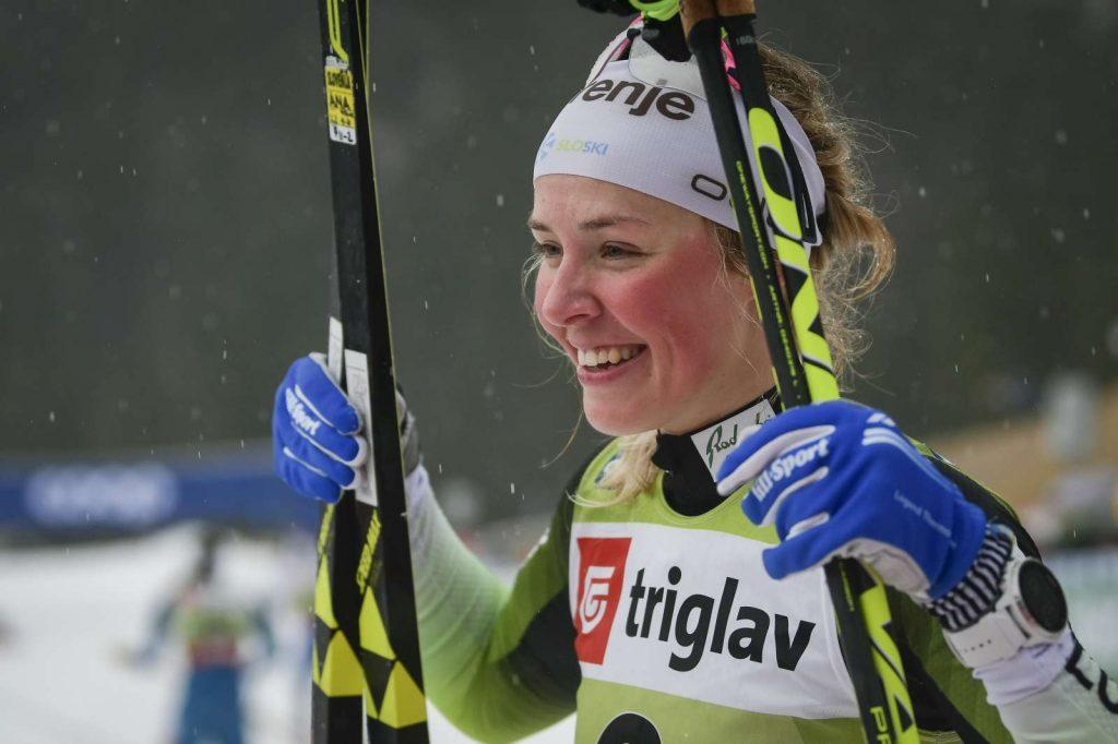 Smučarska tekačica Anamarija Lampič po sprintu v Planici decembra 2019. Foto: Jure Makovec/STA