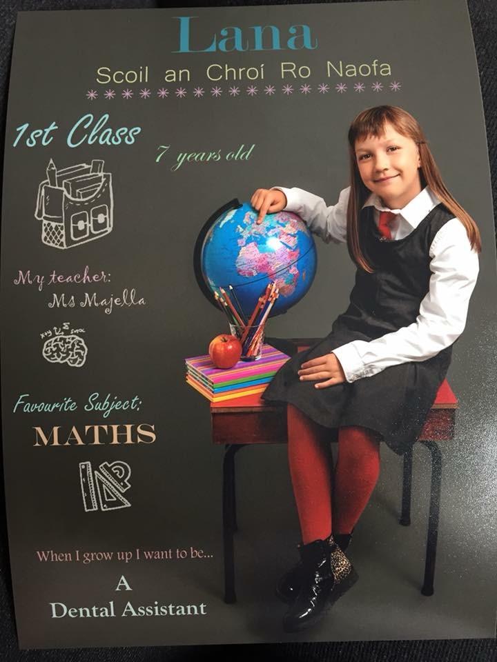 Lana kot prvošolka. Njen najljubši predmet je matematika, ko bo velika, pa bi rada bila zobozdravstvena asistentka. Vir: Osebni arhiv