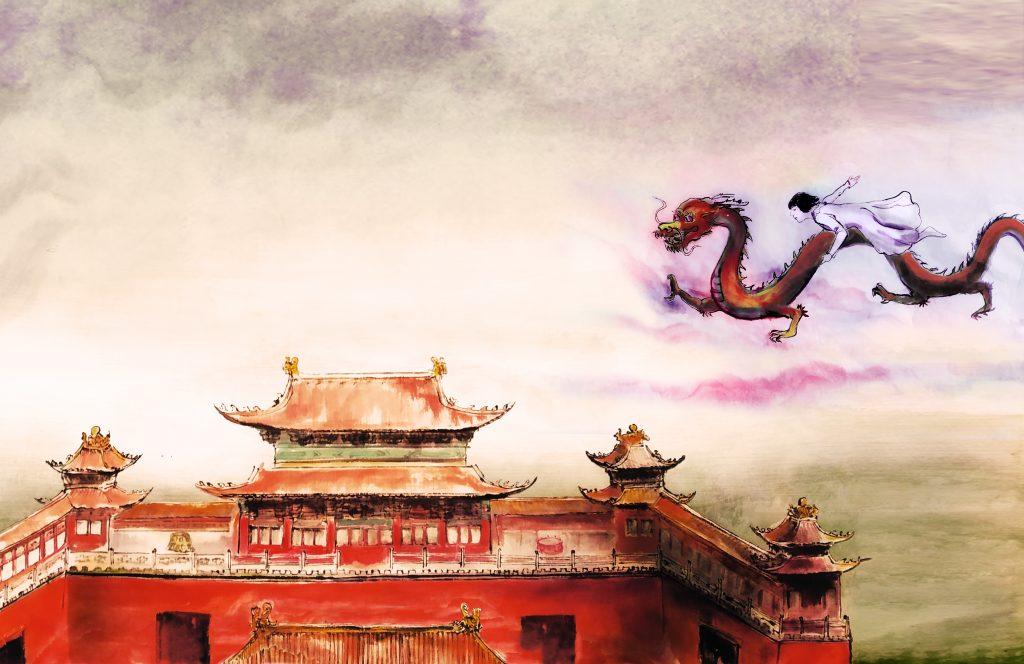 Ilustracija iz slikanice Mala Alma na veliki poti. Ilustracija: Huiqin Wang/Arhiv Mladinske knjige