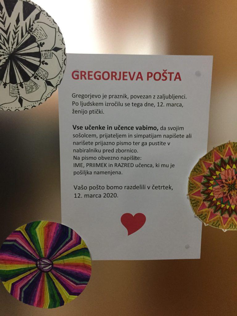 Gregorjeva pošta na OŠ Hinka Smrekarja v Ljubljani. Foto: Sonja Merljak Zdovc/Časoris