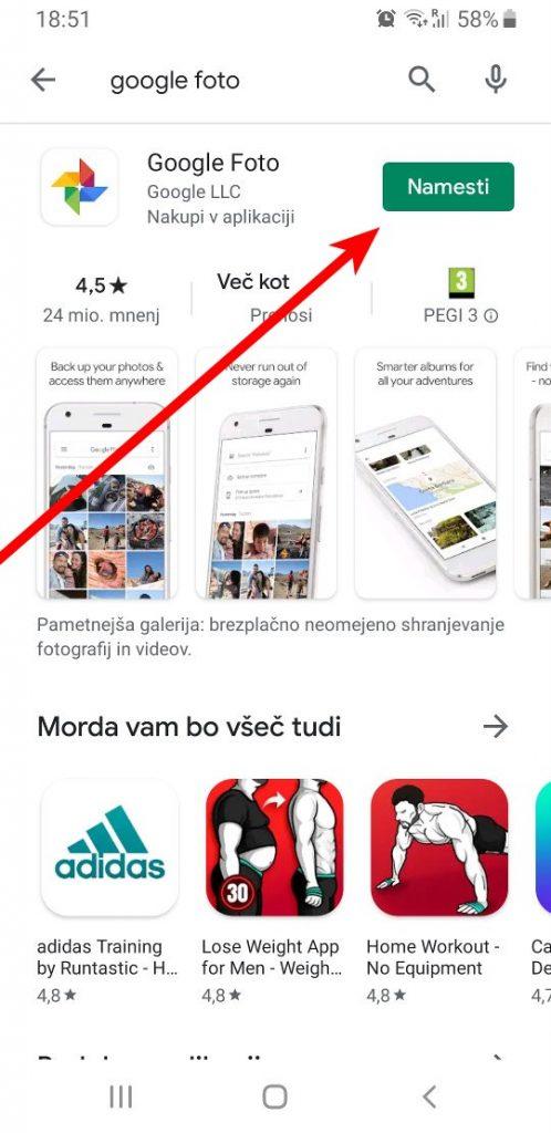 Namesti Google Foto