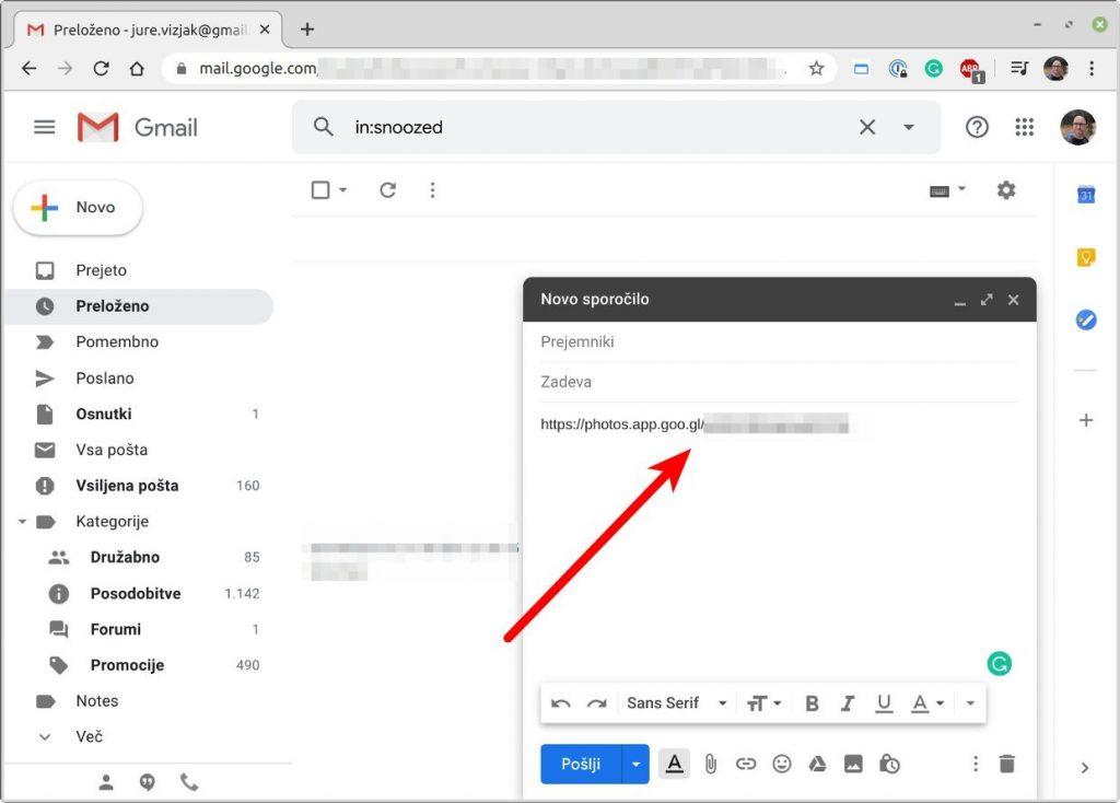 Deljenje povezave preko elektronske pošte