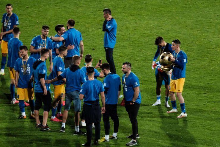 Nogometaši Celja so prvič v zgodovini osvojili naslov državnih prvakov. Foto: STA