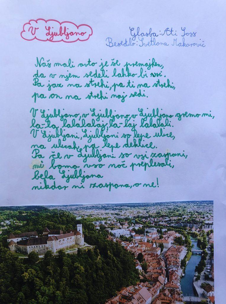 Pesem iz Nejline pesmarice. Vir: Osebni arhiv