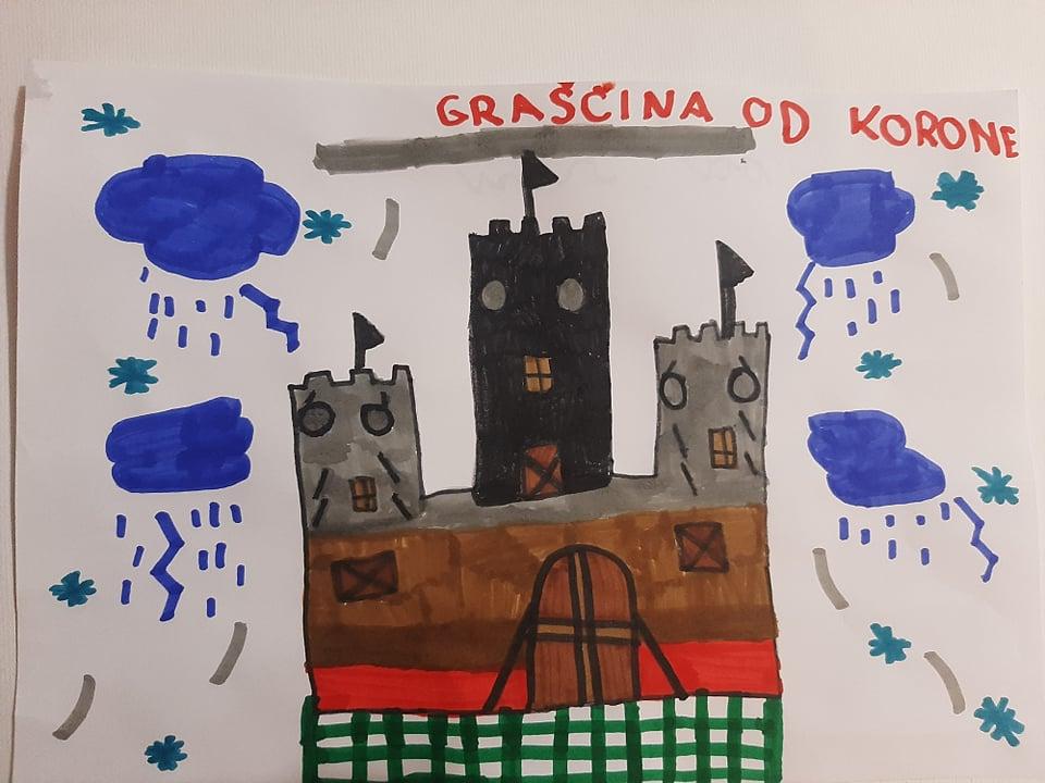 Karolina premaga zlobnega kralja Korono. Ilustracija: Karolina Iva Barić  Ravbar.