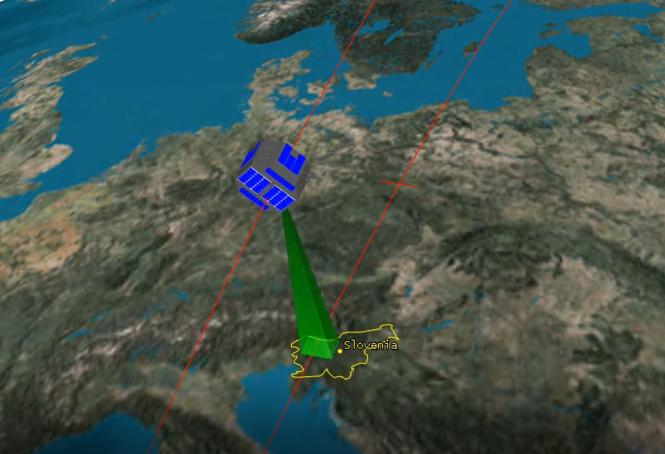 Animacija potovanja satelita Nemo-HD nad Slovenijo. Vir: Space.si