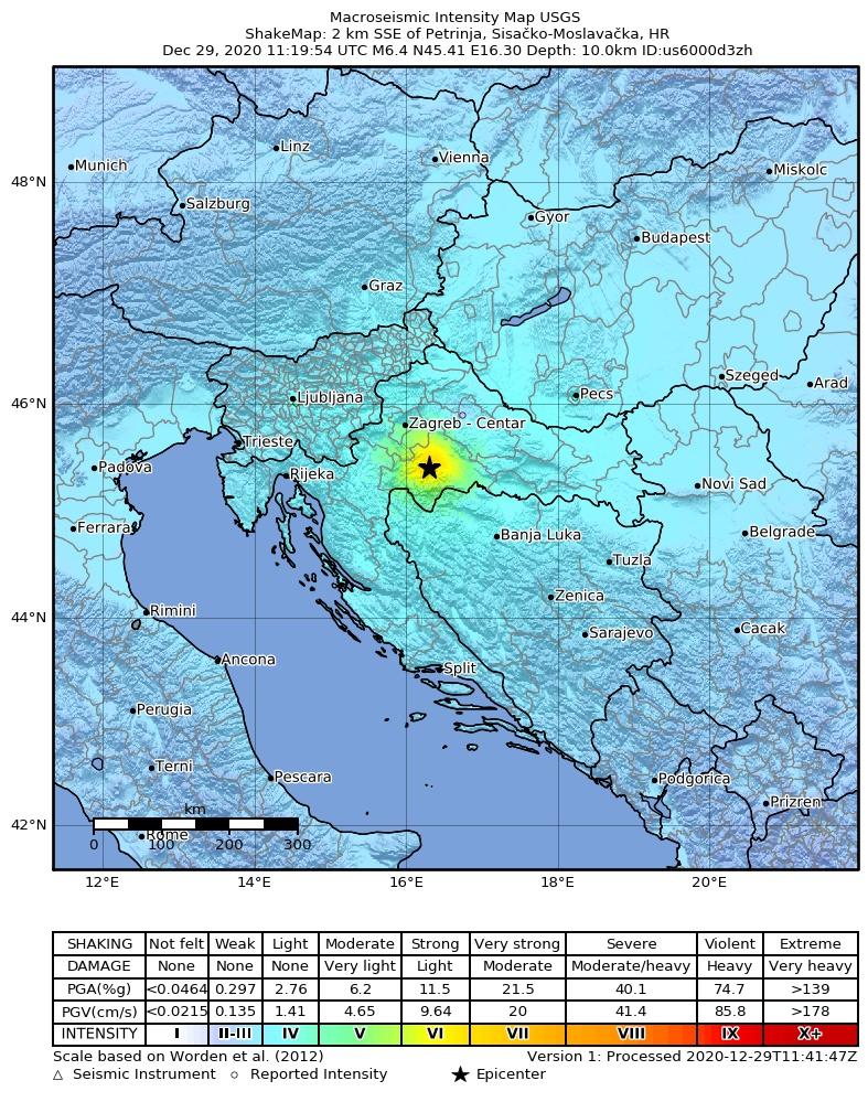 Potres v bližini Petrinje. Vir: earthquake.usgs.gov