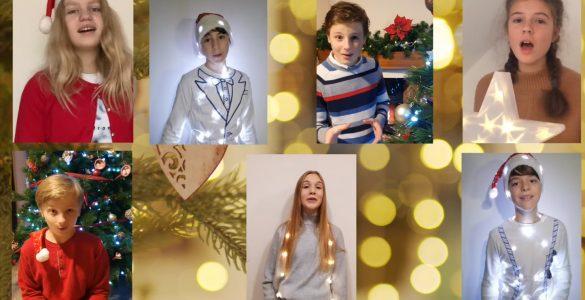Skupina najstnikov s Kalobja je posnela božično pesem. Vir: Posnetek zaslona