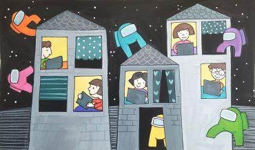 Among us. Ilustracija Urška Stropnik Šonc