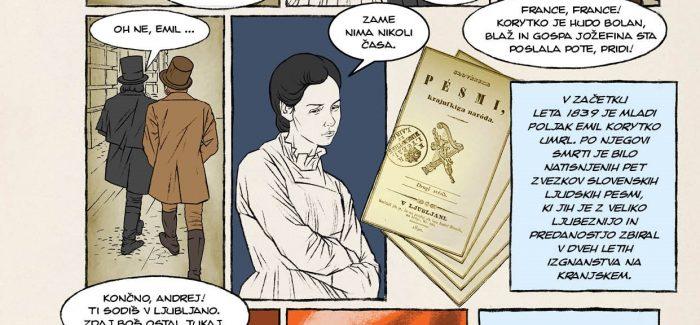 Strip o Prešernu je na ogled tudi na razstavi v Prešernovi hiši. Vir: Gorenjski muzej