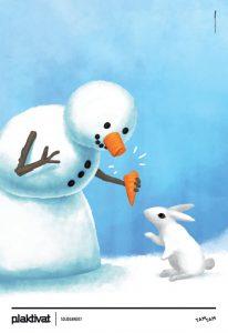 Avtorji ilustracije »Snežak« so Peter Zabret, Rok Flego in Lenart Slabe iz agencije Pristop.