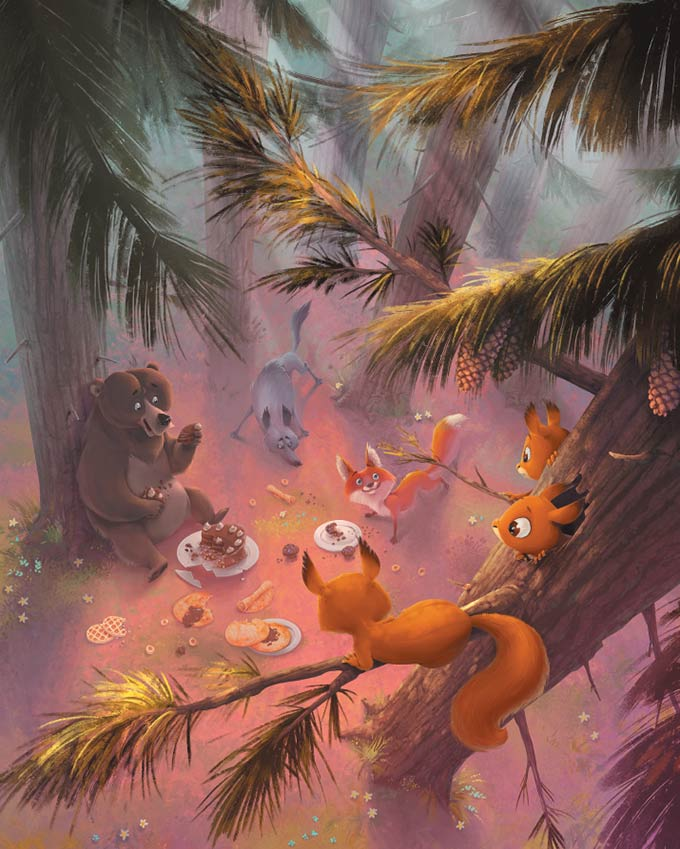 Naslov: Izbirčne veveričke. Ilustracija: Gregor Goršič