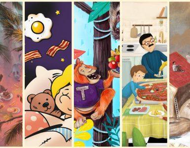 Zmagovalne zgodbe so upodobljene v ilustracijah, ki so jih ustvarili Gregor Goršič, David Krančan, Jana Fak, Nika Kovačič, in Nea Likar (od leve proti desni).