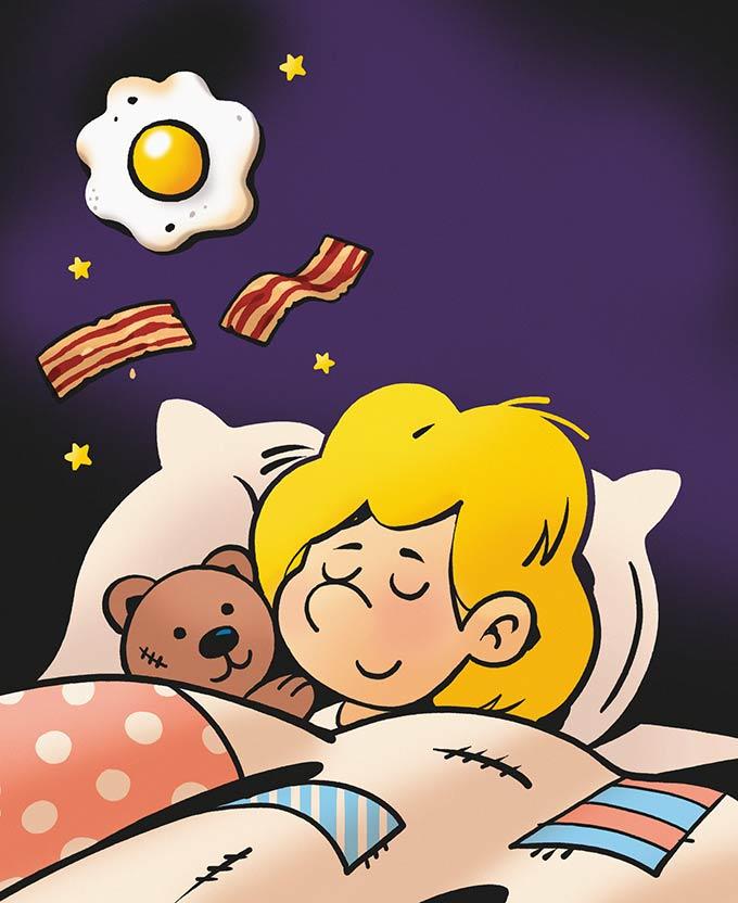 Naslov: Košček popečene slanine. Ilustracija: David Krančan