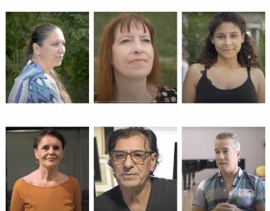 Barbara Zupančič (levo zgoraj in nato v smeri urinega kazalca), Lidija Dimkovska, Lina Akif, Diego Barrios Ross, Miloš Dekić in Draga Potočnjak. Vir: Časoris