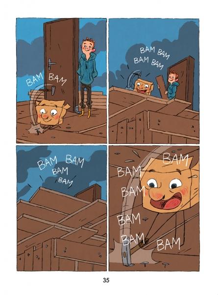 Ahac in Škatla s kopico humorja izdelujeta nove reči. Vir: Drugi del Škatle, Vige Vage Knjige