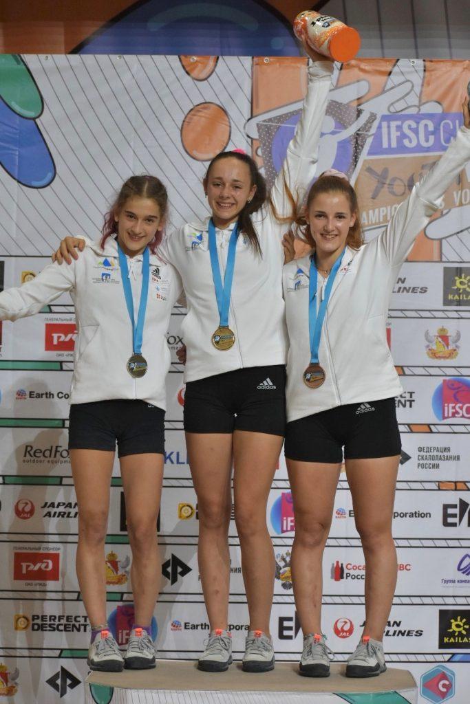 Sara Čopar na svetovnem prvenstvu v Rusiji. Vir Slovenia Youth Climbing